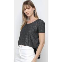 Blusa Calvin Klein Assimétrica Lurex Feminina - Feminino-Preto