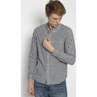 Camisa Xadrez Com Bolso- Branca & Azul Marinholevis