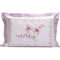 Fronha Refinata Floral- Branca & Rosa- 50X70Cm- Buettner