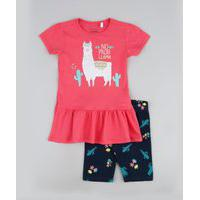 Conjunto Infantil Blusa Estampada De Lhama E Babado Rosa + Bermuda Floral Ciclista Preta