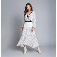 Vestido Mídi Manga Longa Recorte Grid - Lez A Lez