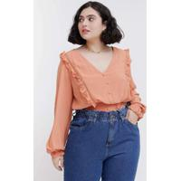 Blusa Almaria Plus Size Tal Qual Cropped Com Elast