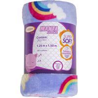 Manta Fleece Solteiro Arco-Íris- Lilás & Branca- 125Lepper