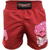 Calção / Short Muay Thai - Feminino - Lady Dragon - Cavado - Vermelho - Toriuk