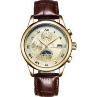 Relógio Tevise 9008 Masculino Automático Pulseira De Couro Marrom - Dourado