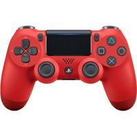 Controle Sony Dualshock 4 Vermelho Sem Fio (Com Led Frontal) - Ps4 - Unissex