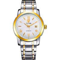 Relógio Tevise T619 Masculino Automático Pulseira De Aço - Branco E Dourado