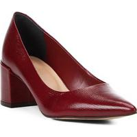 Scarpin Couro Shoestock Salto Médio Lezard - Feminino-Vinho