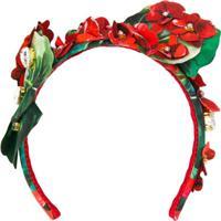 Dolce & Gabbana Tiara Com Aplicações Florais - Vermelho