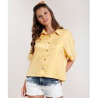 Camisa Feminina Oversized Manga Curta Amarela
