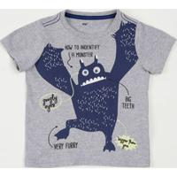 Camiseta Infantil Estampa Monstrinho Manga Curta Marisa