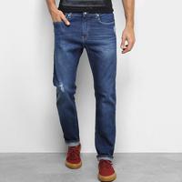 Calça Jeans Slim Calvin Klein Estonada Puídos Masculina - Masculino-Azul