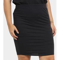 Saia Plus Size Lecimar Listrada Feminina - Feminino-Preto+Cinza
