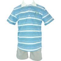 Conjunto Infantil Club Z Camisa Polo E Bermuda Surf Azul