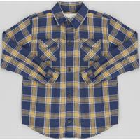 Camisa Infantil Estampada Xadrez Com Bolsos Manga Longa Azul Marinho