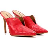 Scarpin Couro Verofatto Chanel Salto Alto Com Abertura - Feminino-Vermelho