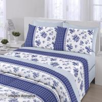 Edredom Royal Plus Solteiro- Azul Escuro & Branco- 1Santista