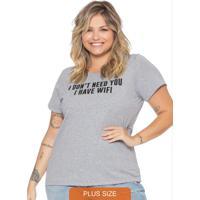 T-Shirt Básica Em Meia Malha Com Escrita Cinza