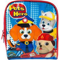 Lancheira Infantil Térmica Pets Hero La32723Ph Masculina - Masculino-Azul