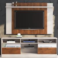 Rack Com Painel Para Tv Até 55 Polegadas 2 Portas Kelvin Off White/Seda - Viero Móveis