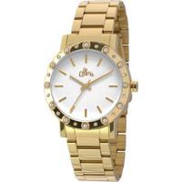 47f3d4a41f9 Netshoes  Relógio Allora Flor Da Pele Madrepérola Feminino - Feminino- Dourado