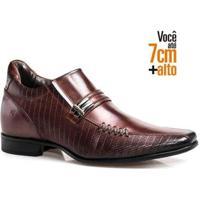 Sapato Social Couro Rafarillo Masculino Salto 7Cm Conforto - Masculino-Mogno