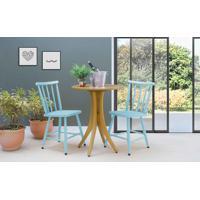 Conjunto Mesa Bistrô Redonda Com 2 Cadeiras Juliette - Amêndoa E Azul Bebê