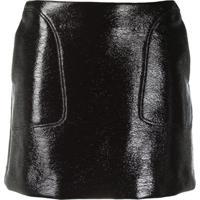 Courrèges Eyewear Logo Faux Leather Mini Skirt - Marrom