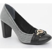 Sapato Em Couro Texturizado Com Aviamentos- Preto & Branjorge Bischoff