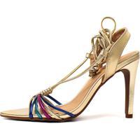 Sandália De Salto Fino Metalizada Jamilly Damannu Shoes Dourada Colorida