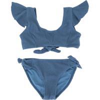Duskii Girl Biquíni Zoe Com Babados - Azul