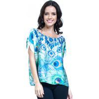 Blusa 101 Resort Wear Crepe Estampada Penas Azul