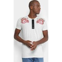 Camiseta Gangster Estampa Flores Masculina - Masculino-Cinza