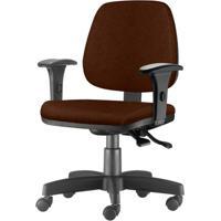 Cadeira Job Com Bracos Semi Curvados Assento Courino Marrom Base Nylon Arcada - 54631 - Sun House