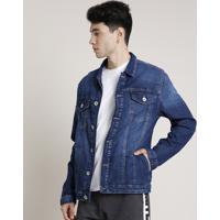 Jaqueta Jeans Masculina Bbb Com Bolsos Azul Escuro