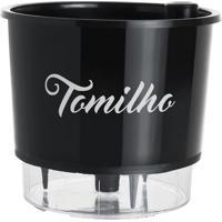 Vaso Gourmet Tomilho- Incolor & Preto-14,3Xã˜16Cmraiz Vasos Autoirrigã¡Veis