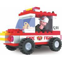 Blocos De Montar Bombeiros Viatura - 58 Peças - Vermelho - 2576 - Xalingo