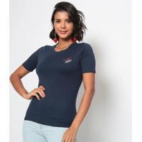 Blusa Em Algodã£O Pima Com Bordado- Azul Marinhoeva