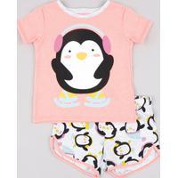Pijama Infantil Pinguim Manga Curta Rosa