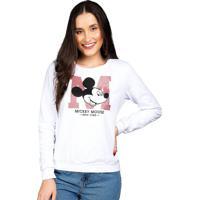 Blusão Moletom E Decote Redondo Branco Mickey