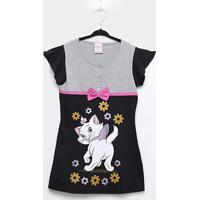 Camisola Infantil Lupo Disney Marie - Feminino-Preto