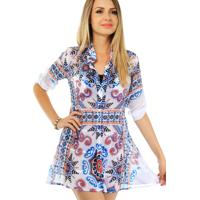 Vestido 101 Resort Wear Renda Branco/Azul