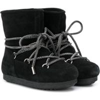 Moon Boot Kids Ankle Boot Com Cadarço - Preto