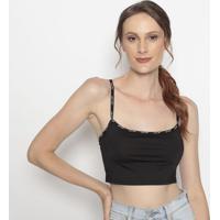 Blusa Cropped Com Elástico- Preta & Off Whitelevis