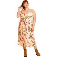 Saia Plus Size Midi Com Botões - Feminino-Rosa Claro