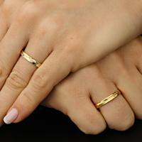 Aliança De Ouro Noivado Fosca Com Diamantes - As0554 + As0555