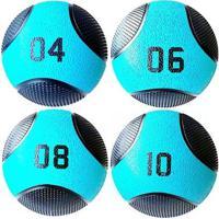 Kit 4 Medicine Ball Liveup Pro 4 6 8 E 10 Kg Bola De Peso Treino Funcional - Unissex