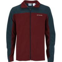 Jaqueta De Frio Fleece Columbia Western Ridge - Masculina - Verde Esc/Vermelho