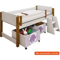 Conjunto De Cama Infantil Naty Com Baú E Escada Branco E Lilás