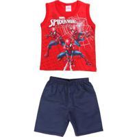 Conjunto Spider Man Infantil Para Menino - Vermelho